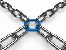 3d chain chrome blue. Cross security metal Stock Image