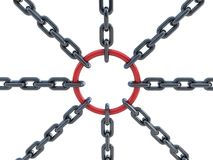 3d chain and circle. 3d chain with red circle. Connection, teamwork, individuality Royalty Free Stock Image