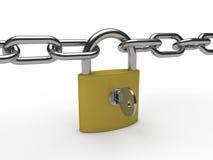 3d chain padlock key Royalty Free Stock Photos