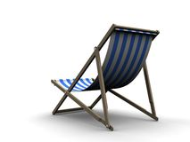 3d chair. 3d rendered illustration of a blue and white deck chair Stock Image
