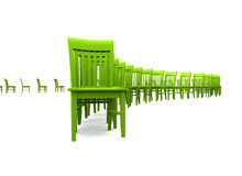 3D chairs - Green 01. Green chairs in a row on white background royalty free illustration