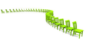 3D chairs - Green 02. Green chairs in a row on white background royalty free illustration