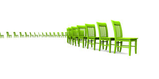 3D chairs - Green 03. Green chairs in a row on white background stock illustration