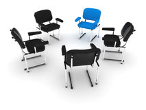 (3d) Chairs meeting. A meeting of chairs, in a circle. Focus over the blue one. A conference, meeting, classroom, etc Royalty Free Stock Images