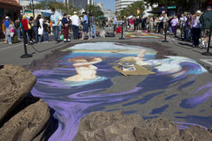3D Chalk Art in Sarasota Florida. During Chalk Festival week 2011 Royalty Free Stock Photography
