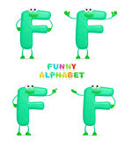 3D character. Isolated abstract 3D character F on white background Royalty Free Stock Photo