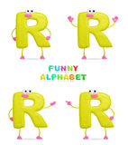 3D character. Isolated abstract 3D character R on white background Stock Image