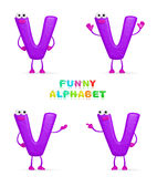 3D character. Isolated abstract 3D character V on white background Royalty Free Stock Images