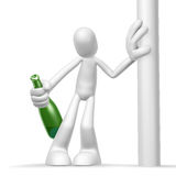 3d character alcoholic. Isolated abstract 3D character on white background Royalty Free Stock Images