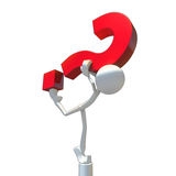 3D Character Balancing Question Mark. Stock Image