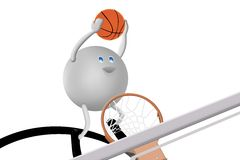 3D Character and Basketball Stock Photography
