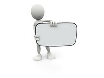 3D Character & Blank Board Royalty Free Stock Photo