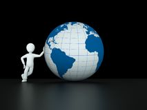 3d character with blue globe Royalty Free Stock Photos