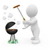 3D character cooking food in barbeque. 3D human cooking food in barbeque stock illustration