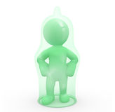 3D character covered by a condom Stock Photography