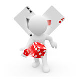 3D character with dice and playing cards Stock Photos