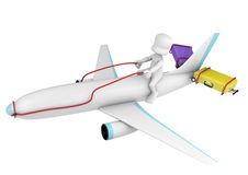 3d character flying a plane Royalty Free Stock Images