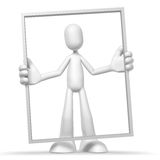 3d character and frame. Isolated abstract 3D character on white background Royalty Free Stock Photos
