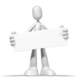 3d character and frame. Isolated abstract 3D character on white background Royalty Free Stock Photo