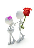 3D character giving away rose Royalty Free Stock Images