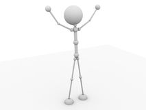 3d character happy feeling Stock Photo