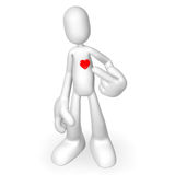 3d character heart. Isolated abstract 3D character on white background Royalty Free Stock Photography