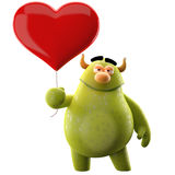 3D character with heart - for love message. Cute 3D character with a balloon in the shape of heart Royalty Free Stock Photo
