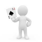 3D character holding ace cards Stock Photography