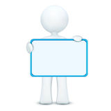 3d character holding blank board. Illustration of 3d character holding blank board on an isolated white background Stock Images