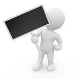 3D character holding empty sign Royalty Free Stock Photos