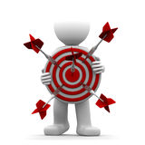 3d character holding a red archery target. Conceptual illustration Royalty Free Stock Image