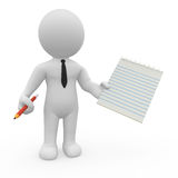 3D character holding spiral notepad and a pencil Stock Photo