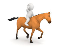 3D Character and Horse Riding Royalty Free Stock Images