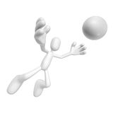 3d character jump. Isolated abstract 3D character on white background Royalty Free Stock Image