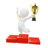 3D Character Jumping With Trophy Royalty Free Stock Photos