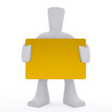 3d character keep golden card. 3d character keep in hands big golden card Stock Illustration