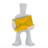 3d character keep post envelope. 3d character keep golden post envelope on the white background Stock Illustration