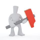3d character keep red hammer. 3d character keep in hand big red hammer Stock Illustration