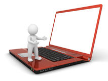 3D Character and Laptop Computer Stock Photography