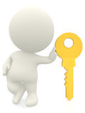 3D character leaning on a key Royalty Free Stock Photos