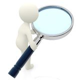 3D character with a magnifying glass Stock Photo