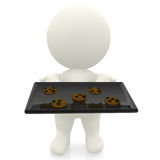 3D character making cookies Royalty Free Stock Image