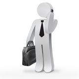 3d character man. 3d business man holding a black suitcase and speaking on mobile phone Stock Image