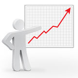 3d character man. With business graph Stock Photo