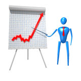 3d character man with business graph. 3d character man pointing at business graph. Clipping path include Stock Photos