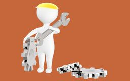 3d Character , Man Waering A Safety Cap Holding Wrench And Standing Near To Cogwheels Royalty Free Stock Photos