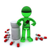3d character with pill inside stomach Royalty Free Stock Photography