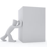 3d character push white box. 3d character push forward white box Royalty Free Stock Images