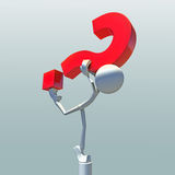 3D character and question mark. 3D character balancing question mark Royalty Free Stock Image