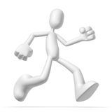 3d character run. Isolated abstract 3D character on white background Royalty Free Stock Photography
